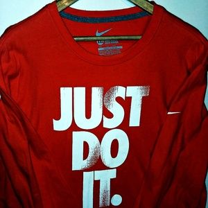 Nike Men's Long Sleeve T JUST DO IT. Orange Sz XXL